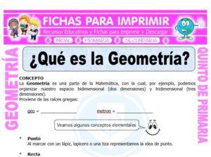 Ficha de Qué es la Geometría para Quinto de Primaria