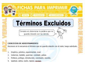 Ficha de Términos Excluidos para Sexto de Primaria