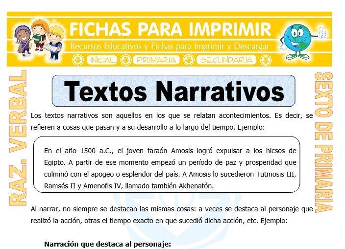 Ficha de Textos Narrativos para Sexto de Primaria