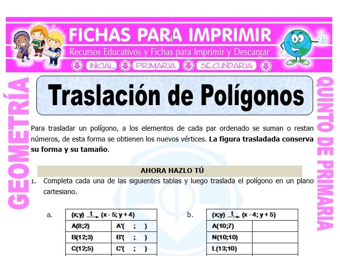 Ficha de Traslación de Polígonos para Quinto de Primaria