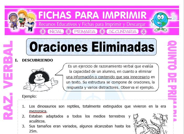 Ficha de Actividades de Oraciones Eliminadas para Quinto de Primaria