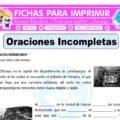 Actividades de Oraciones Incompletas para Quinto de Primaria