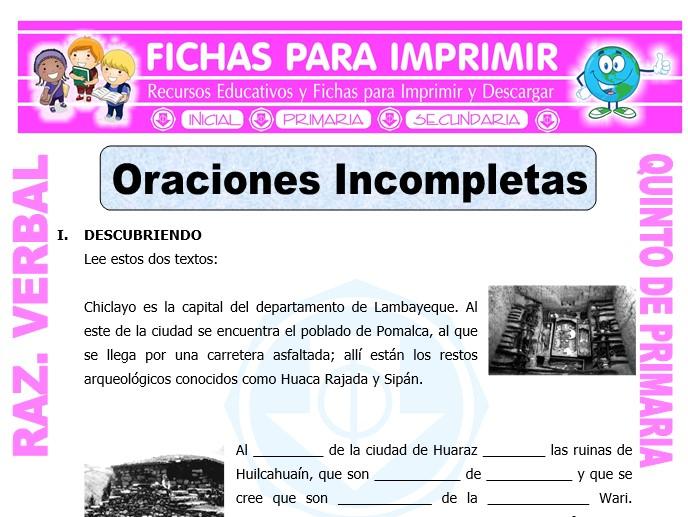Ficha de Actividades de Oraciones Incompletas para Quinto de Primaria