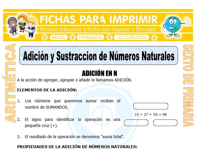 Ficha de Adición y Sustracción de Números Naturales para Sexto de Primaria