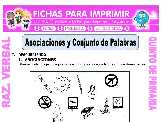 Ficha de Asociación de Palabras para Quinto de Primaria