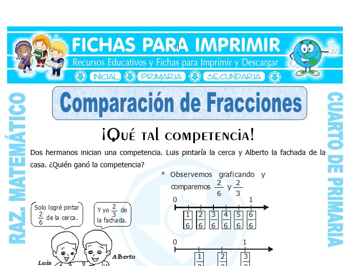Ficha de Comparación de Fracciones para Cuarto de Primaria