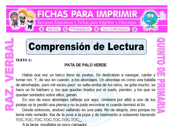 Comprensión De Lecturas Para Quinto De Primaria Fichas Para Imprimir