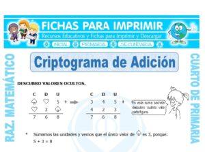 Ficha de Criptograma de Adición para Cuarto de Primaria