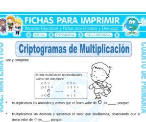 Criptogramas de Multiplicación para Cuarto de Primaria
