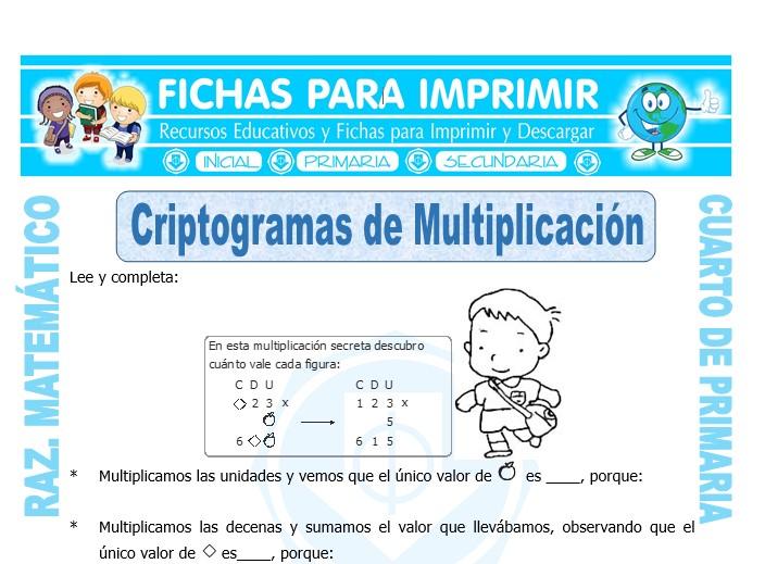 Ficha de Criptogramas de Multiplicación para Cuarto de Primaria