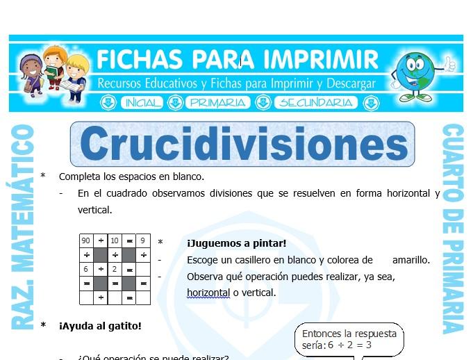 Ficha de Crucidivisiones para Cuarto de Primaria