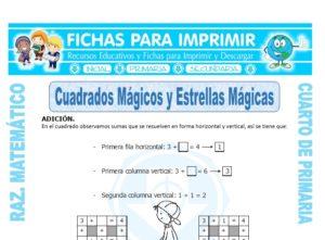 Ficha de Cuadrados Mágicos con Adición para Cuarto de Primaria