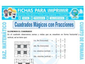 Ficha de Cuadrados Mágicos con Fracciones para Cuarto de Primaria
