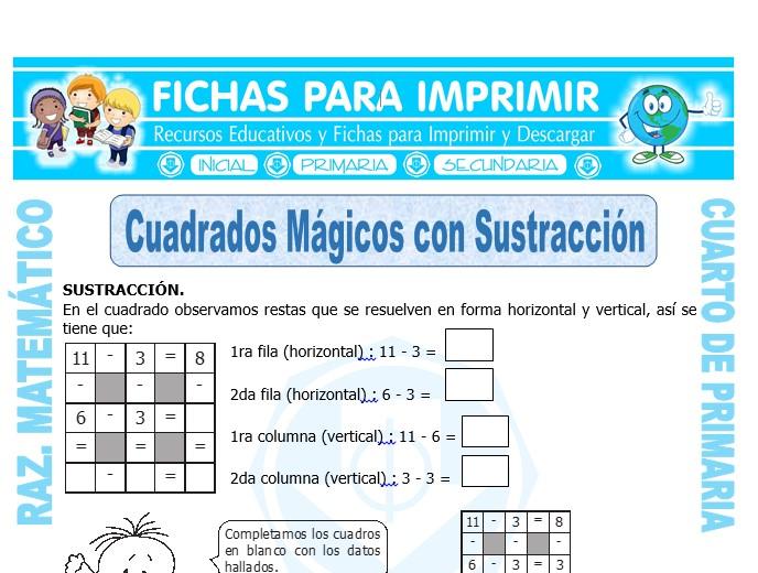Ficha de Cuadrados Mágicos con Sustracción para Cuarto de Primaria