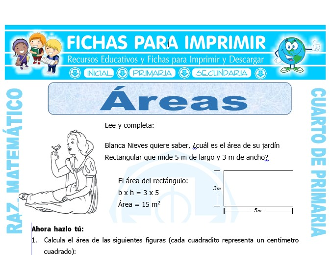 Ejercicios con Áreas para Cuarto de Primaria - Fichas para Imprimir