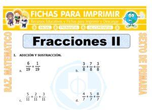 Ficha de Ejercicios con Fracciones para Sexto de Primaria