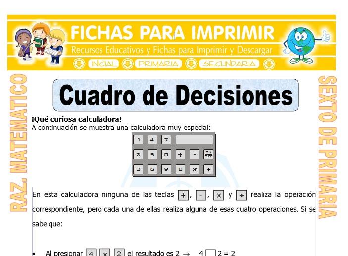 Ficha de Ejercicios de Cuadro de Decisiones para Sexto de Primaria