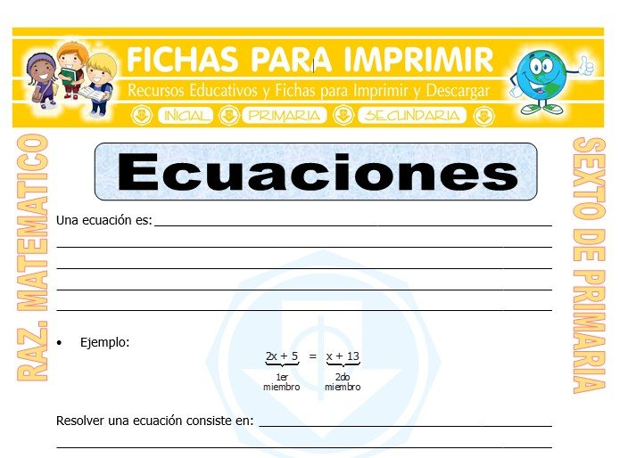 Ficha de Ejercicios de Ecuaciones para Sexto de Primaria