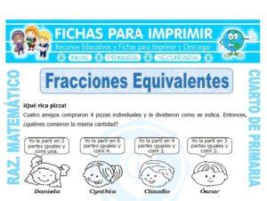 Ficha de Ejercicios de Fracciones Equivalentes para Cuarto de Primaria