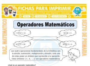 Ficha de Ejercicios de Operadores Matemáticos para Sexto de Primaria