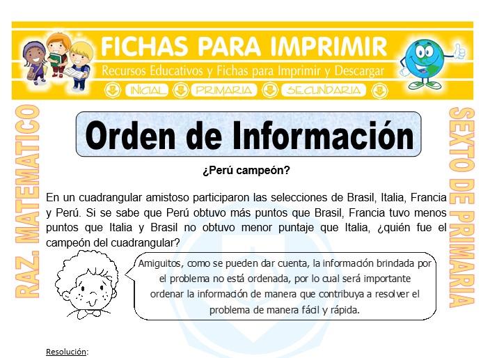 Ficha de Ejercicios de Orden de Información para Sexto de Primaria
