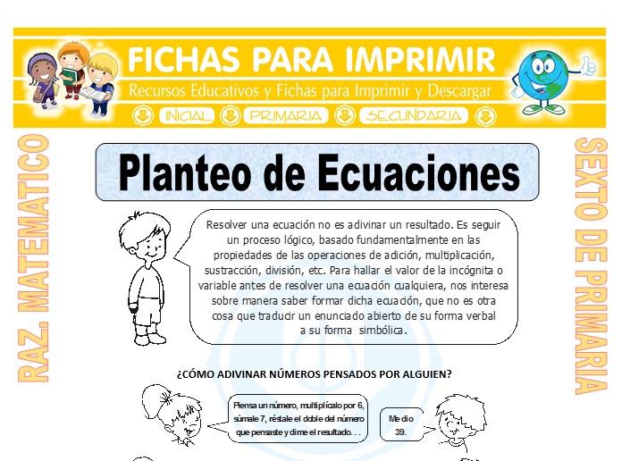Ficha de Ejercicios de Planteo de Ecuaciones para Sexto de Primaria