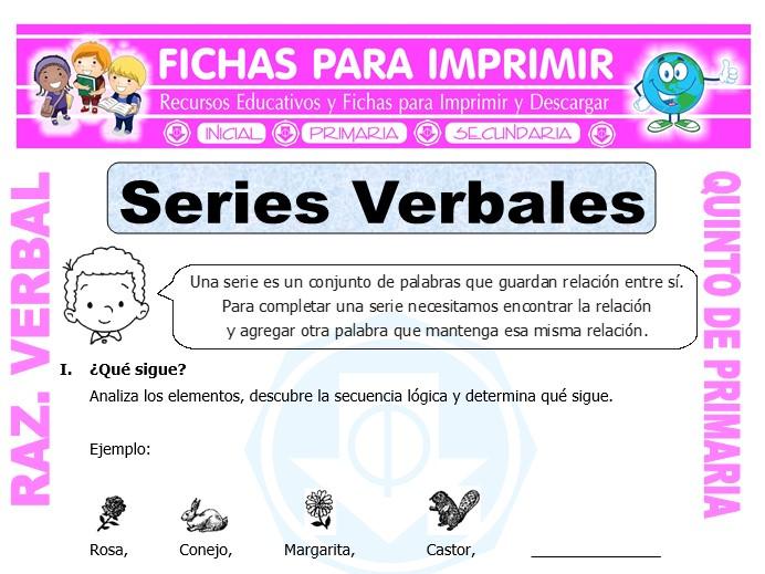Ficha de Ejercicios de Series Verbales para Quinto de Primaria