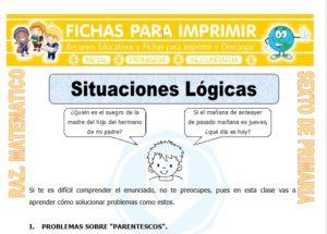 Ficha de Ejercicios de Situaciones Lógicas para Sexto de Primaria