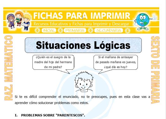 Ejercicios De Situaciones Logicas Para Sexto De Primaria Fichas Gratis