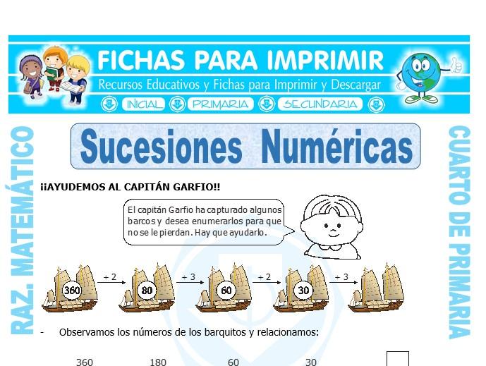 Ficha de Ejercicios de Sucesiones Numéricas para Cuarto de Primaria