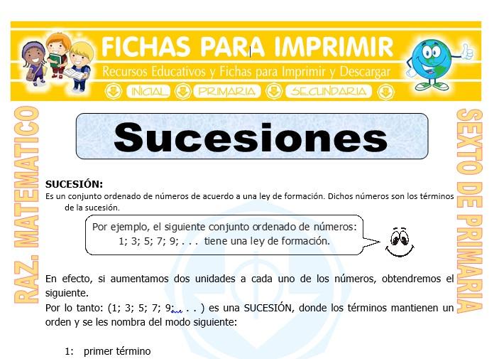 Ficha de Ejercicios de Sucesiones para Sexto de Primaria