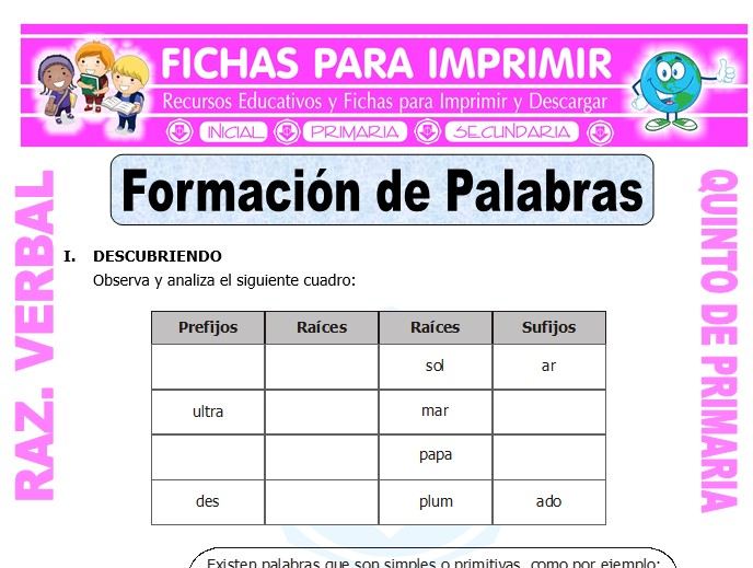 Ficha de Formación de Palabras Ejercicios para Quinto de Primaria