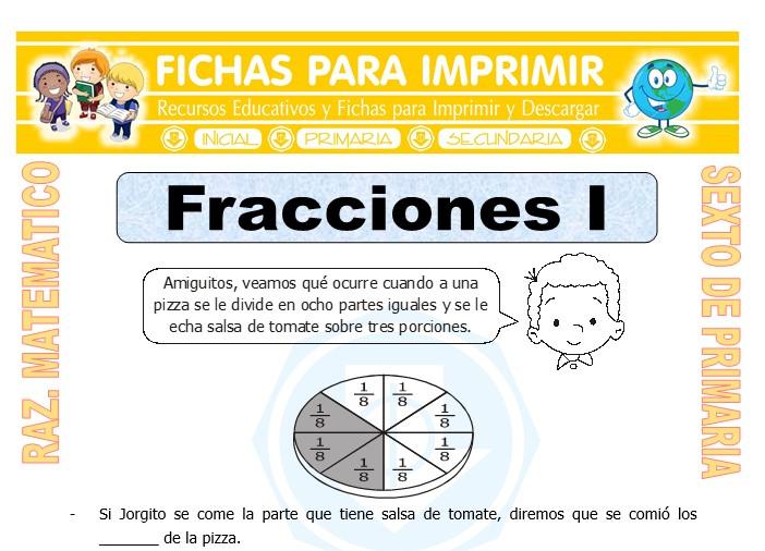 Ficha de Gráficas de Fracciones para Sexto de Primaria