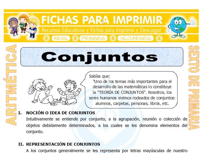 Ficha de Los Conjuntos para Sexto de Primaria