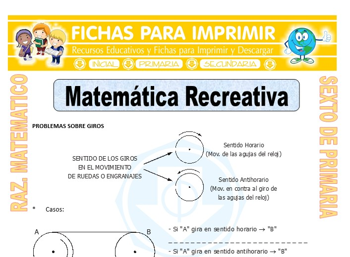 Ficha de Matemática Recreativa para Sexto de Primaria