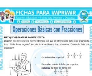 Operaciones Básicas con Fracciones para Cuarto de Primaria