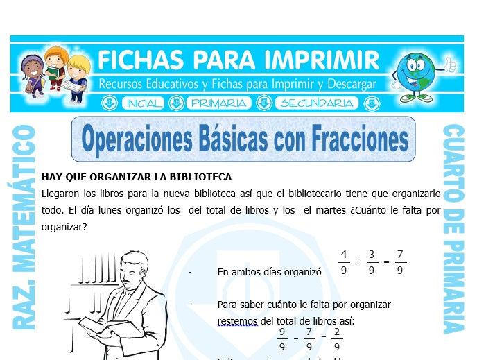 Ficha de Operaciones Básicas con Fracciones para Cuarto de Primaria