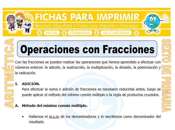 Ficha de Operaciones Combinadas con Fracciones para Sexto de Primaria