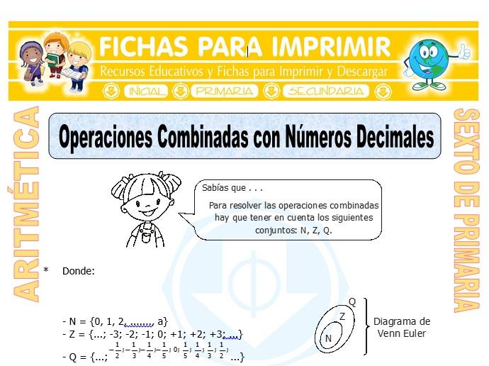 Ficha de Operaciones Combinadas con Números Decimales para Sexto de Primaria
