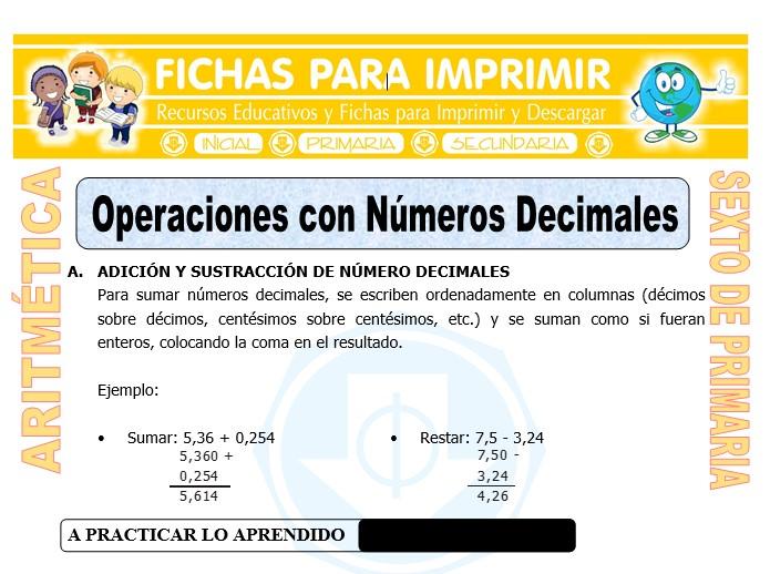 Ficha de Operaciones con Números Decimales para Sexto de Primaria
