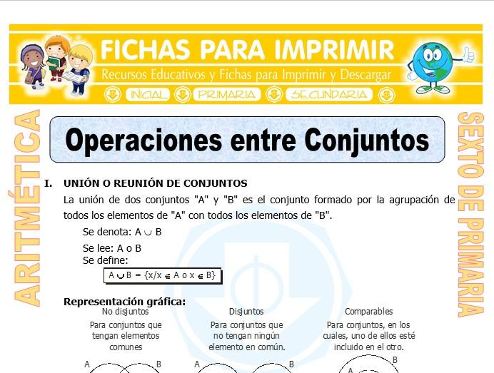Operaciones Entre Conjuntos Ejercicios Para Sexto De Primaria
