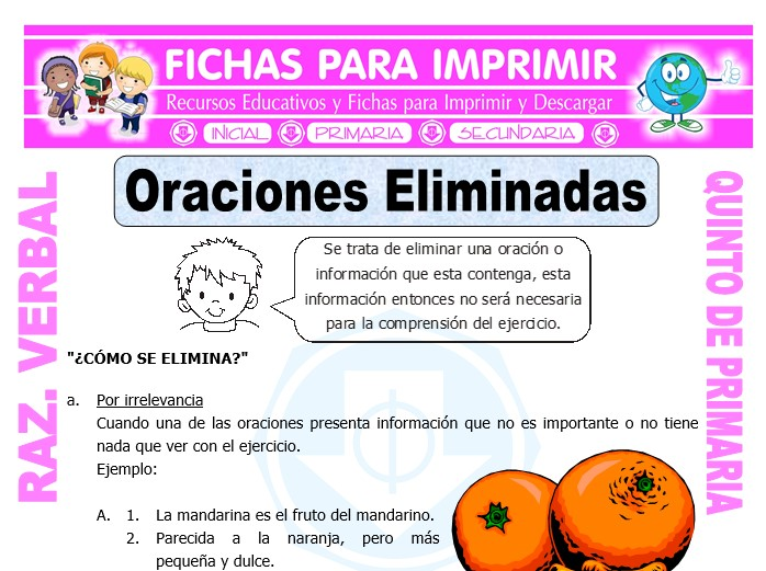 Ficha de Oraciones Eliminadas Ejercicios para Quinto de Primaria