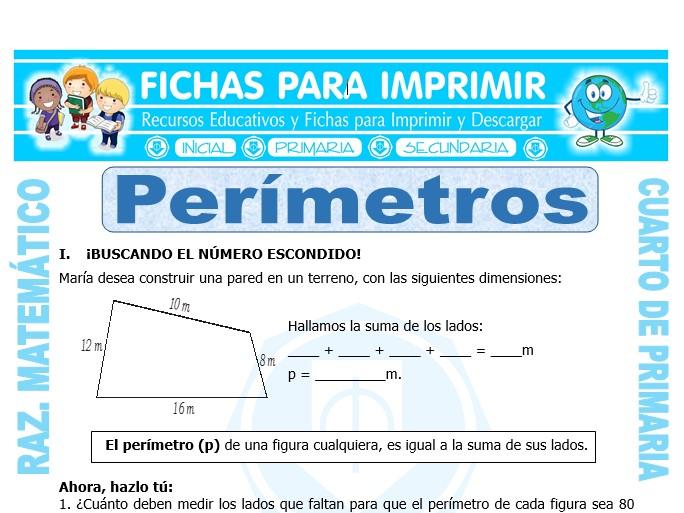 Ficha de Perímetros para Cuarto de Primaria