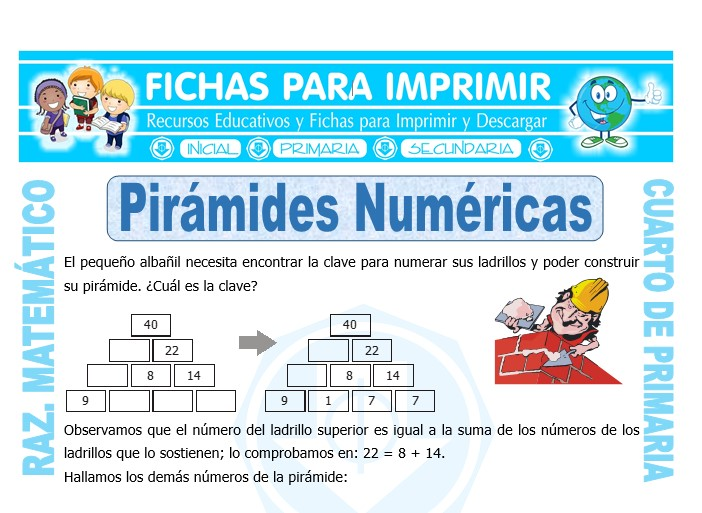 Ficha de Pirámide Numérica para Cuarto de Primaria