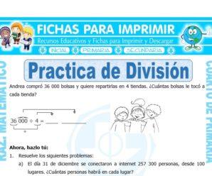 Practica de División para Cuarto de Primaria