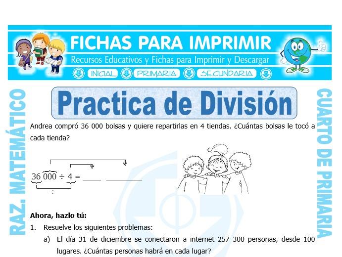 Ficha de Practica de División para Cuarto de Primaria
