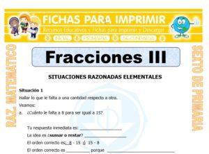 Ficha de Problemas con Fracciones para Sexto de Primaria