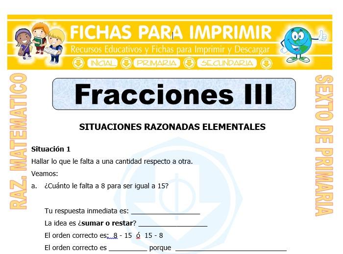 Problemas Con Fracciones Para Sexto De Primaria Fichas Para Imprimir