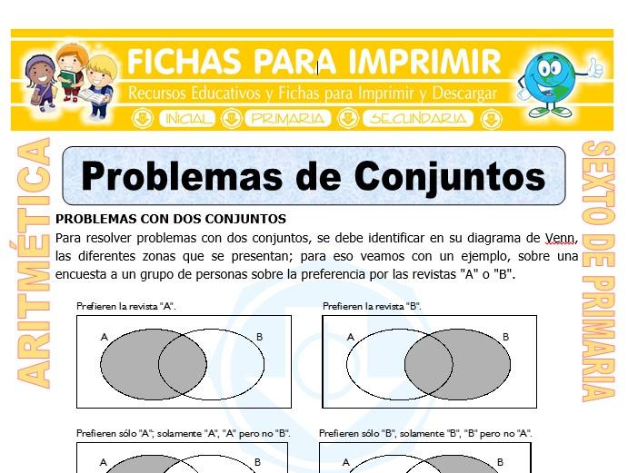 Problemas De Conjuntos Para Sexto De Primaria Fichas Para Imprimir