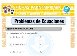 Ficha de Problemas de Ecuaciones para Sexto de Primaria